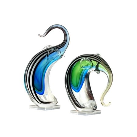 Dale Tiffany 2 Piece Deco Elephant Art Glass Sculpture