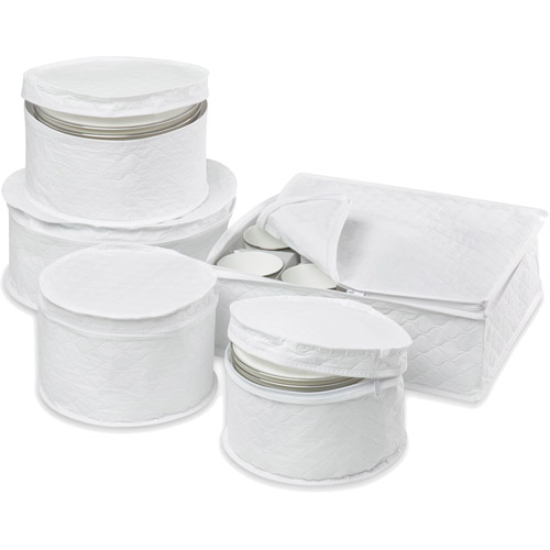 Honey Can Do 5pc Dinnerware Storage Set, White