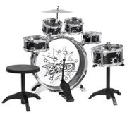 BCP 11-Piece Kids Starter Drum Set w/ Bass Drum, Tom Drums, Snare, Cymbal, Stool, Drumsticks - Black
