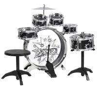 BCP 11-Piece Kids Starter Drum Set w| Bass Drum, Tom Drums, Snare, Cymbal, Stool, Drumsticks - Black