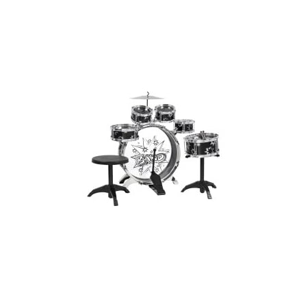 41963404 Black Drum - Best Choice Products 11-Piece Kids Starter Drum Set w/ Bass Drum, Tom Drums, Snare, Cymbal, Stool, Drumsticks - Black