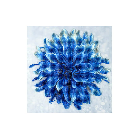 "Diamond Art Kit 8x8"" Beginner Blue Dahlia"