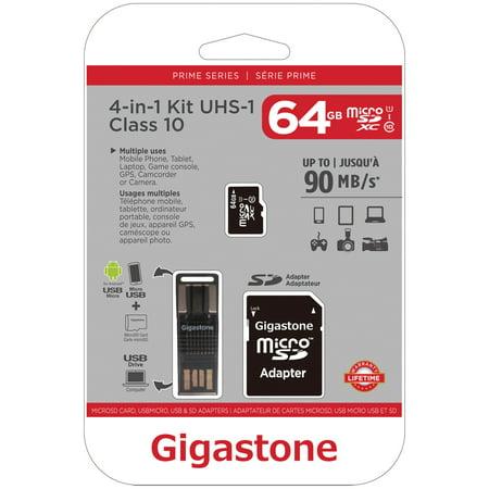 Gigastone GS-4IN1600X64GB-R Prime Series microSD Card 4-in-1 Kit - Kit Microsd