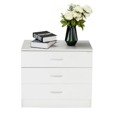 Ktaxon Wooden 3 Drawer Nightstand Bedside Table End Table Bedroom Furniture ()