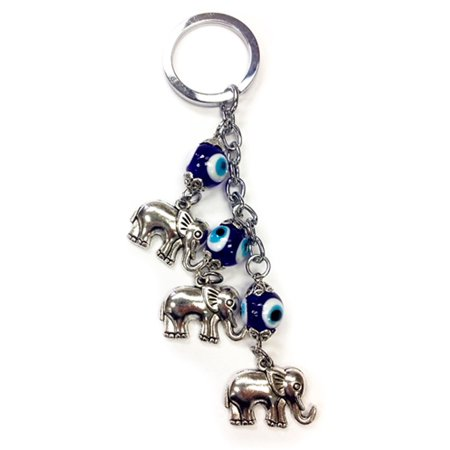 Elephant Key - Lucky Evil Eye Elephant Keychain Blue Car Keys Blessing Protection Charm Wall