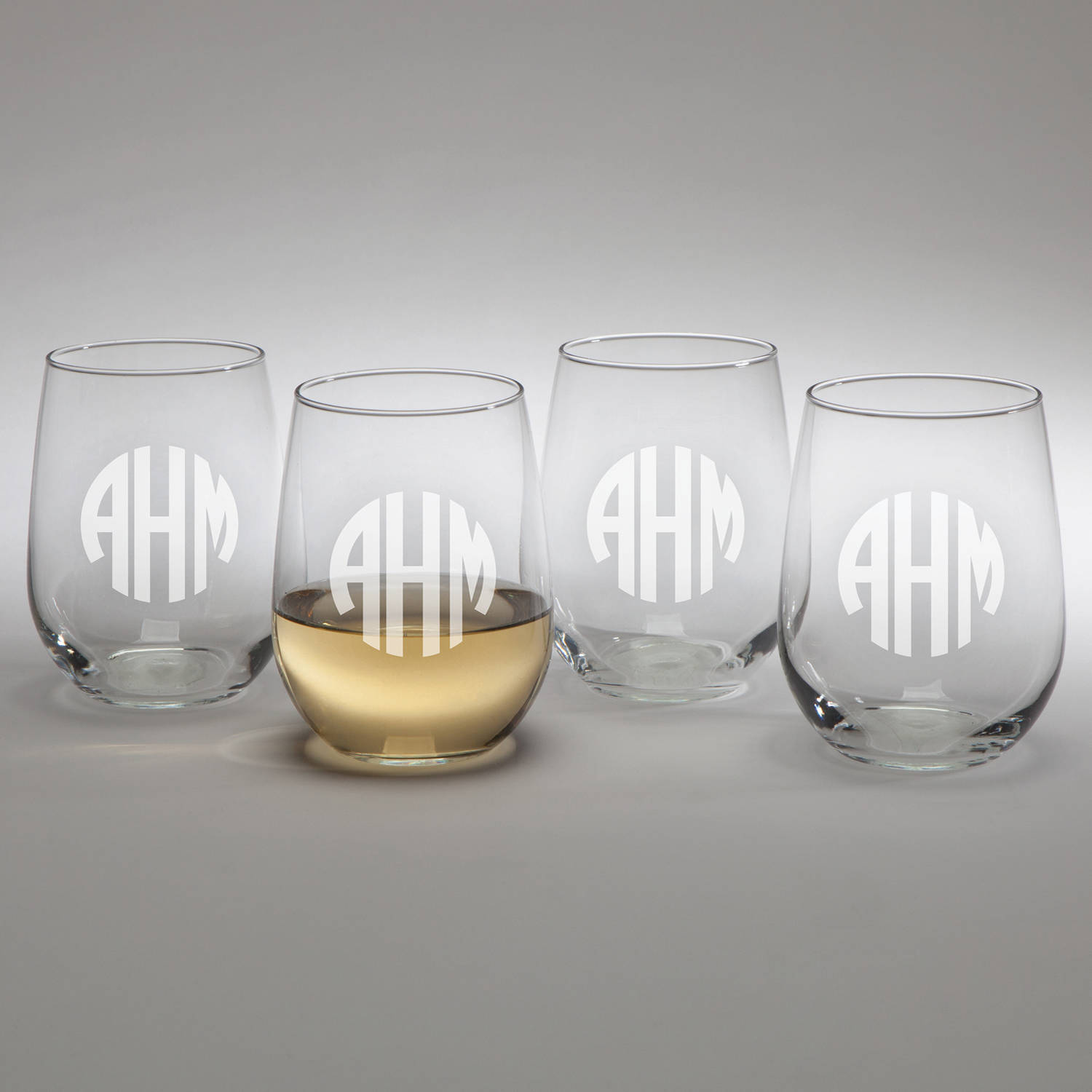 Circle Monogram Set Of 4 Personalized Stemless Wine Glasses