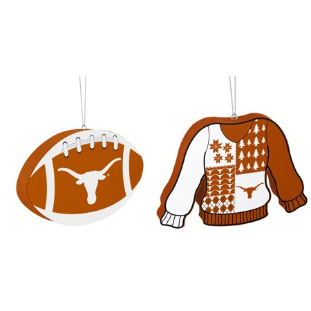 Texas Longhorns NCAA Foam Christmas Ball Ornament And Ugly Sweater Bundle 2 Pack
