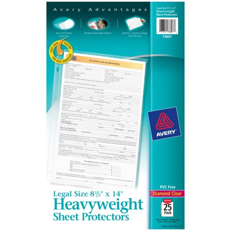 Avery Legal Size Heavyweight Sheet Protectors, Clear, 25 Count (73897) (Page Size Protectors)