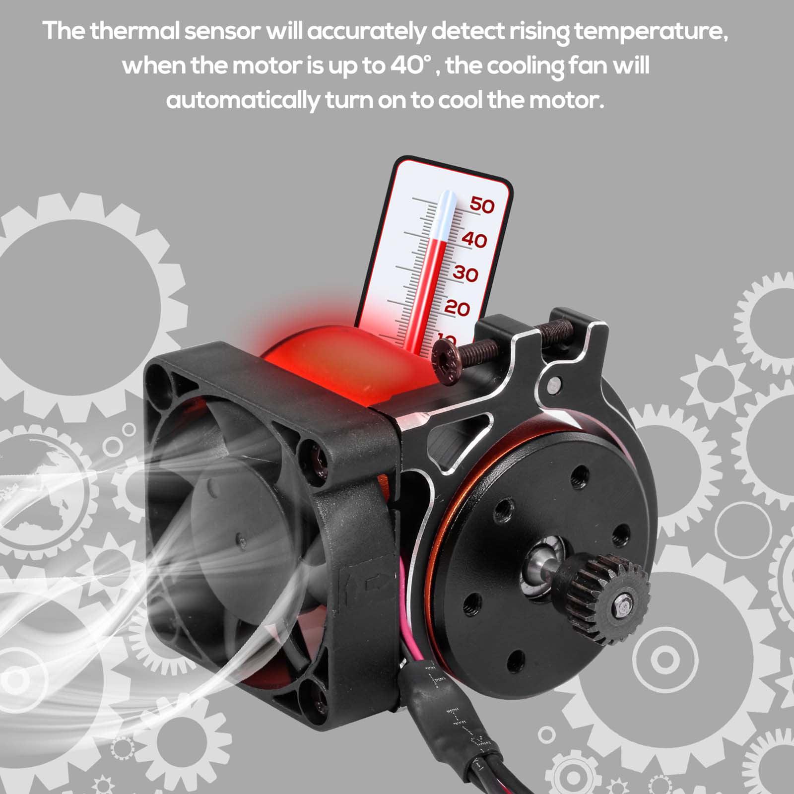 Black GoolRC RC Car Motor Heatsink Cooling Fan with Thermal Sensor CNC Aluminum Alloy Clamp Heatsink for 4268 4274 Motors 1//8 1//10 Buggy Cars