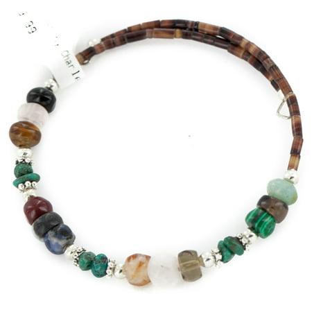 Certified Authentic Navajo Natural Turquoise Malachite Quartz Heishi Adjustable Wrap Native American Bracelet