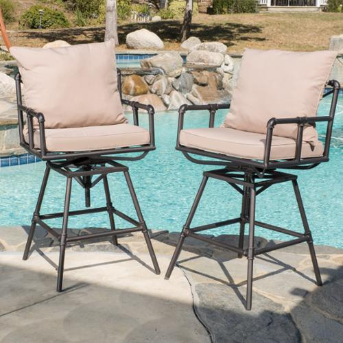 Redondo Pipe Outdoor Adjustable Bar Stools with Cushions (Set Of 2)