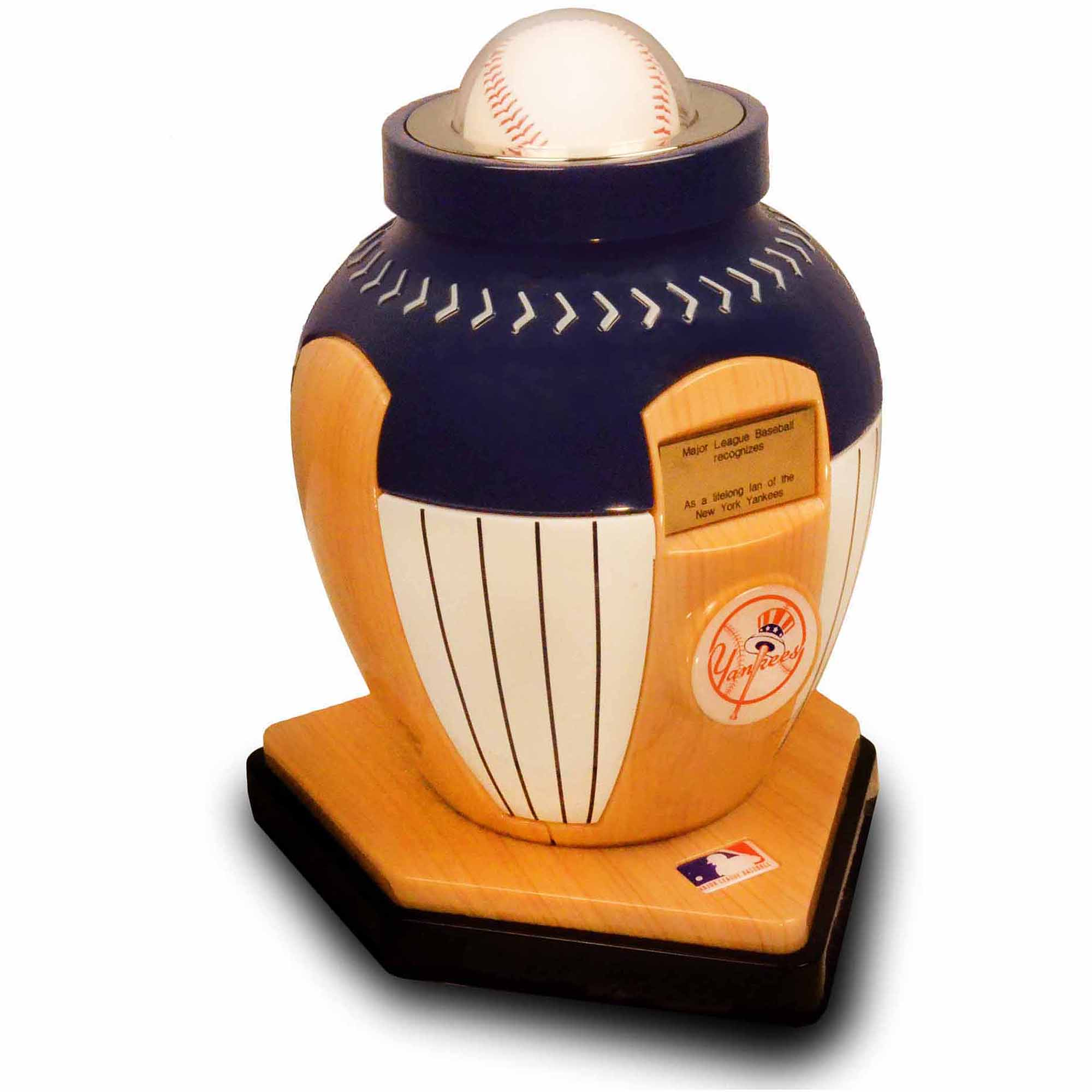 Official Major League Baseball Cremation Urn for Human Ashes - New York Yankees