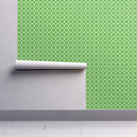 Peel-and-Stick Removable Wallpaper Kelly Green Preppy Kelly Green Quatrefoil ()