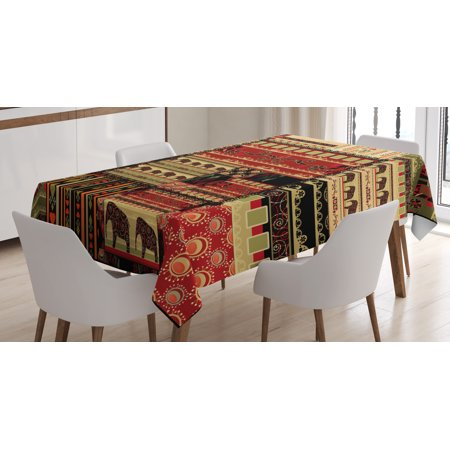 African Tablecloth, Patchwork Style Asian Pattern with Elephants and Cultural Ancient Motifs Print, Rectangular Table Cover for Dining Room Kitchen, 60 X 84 Inches, Red Green Black, by Ambesonne - Amscan Tablecloths