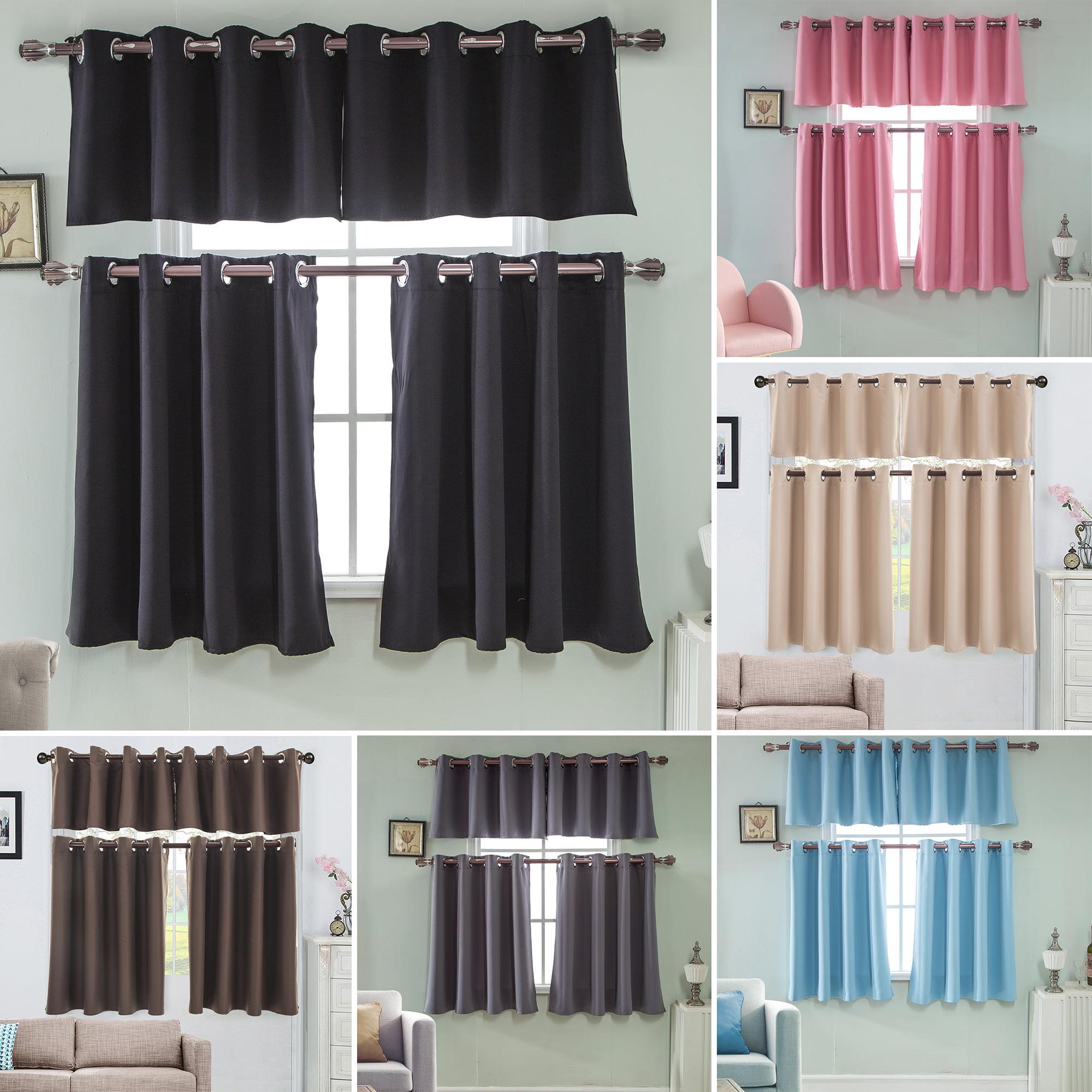 solid blackout short curtains panel, energy saving room darkening grommet top window curtain