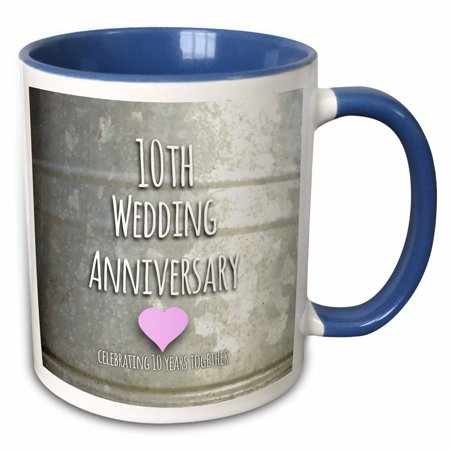 3dRose 10th Wedding Anniversary gift - Tin celebrating 10 years together - tenth anniversaries ten yrs - Two Tone Blue Mug, 11-ounce - Custom Tin Mugs