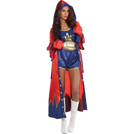 Boxer Costume For Womens (AMSCAN Knockout Sexy Boxer Halloween Costume for Women, Large, with Included)