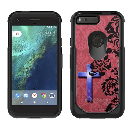 Skin Decal For Otterbox Commuter Google Pixel Case   Cross On Black Floral Damask Red