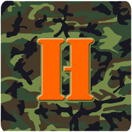 Monogram - Camo Green Foam Coasters, Initial Letter H - Set 4, 3.5 x 3.5 In.