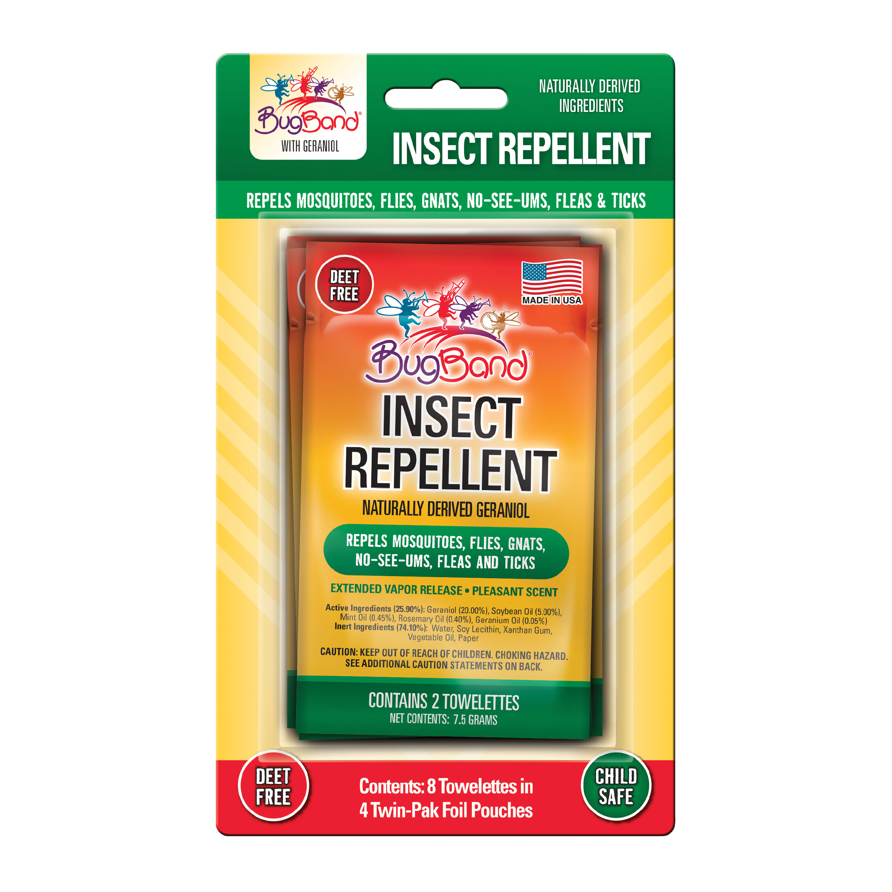 BugBand 88500 Towelette Lotion Insect Repellent - 50 x 2-Pack