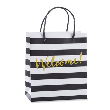 12 Classic Black And White Striped Welcome Bags Wedding Gifts Bags