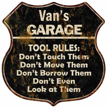 Van's Garage Tool Rules Personalized Shield Metal Sign Gift - Vans Personalized