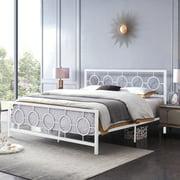 Noble House Ewelina Modern King-Size Iron Geometric Low-Profile Bed Frame, White