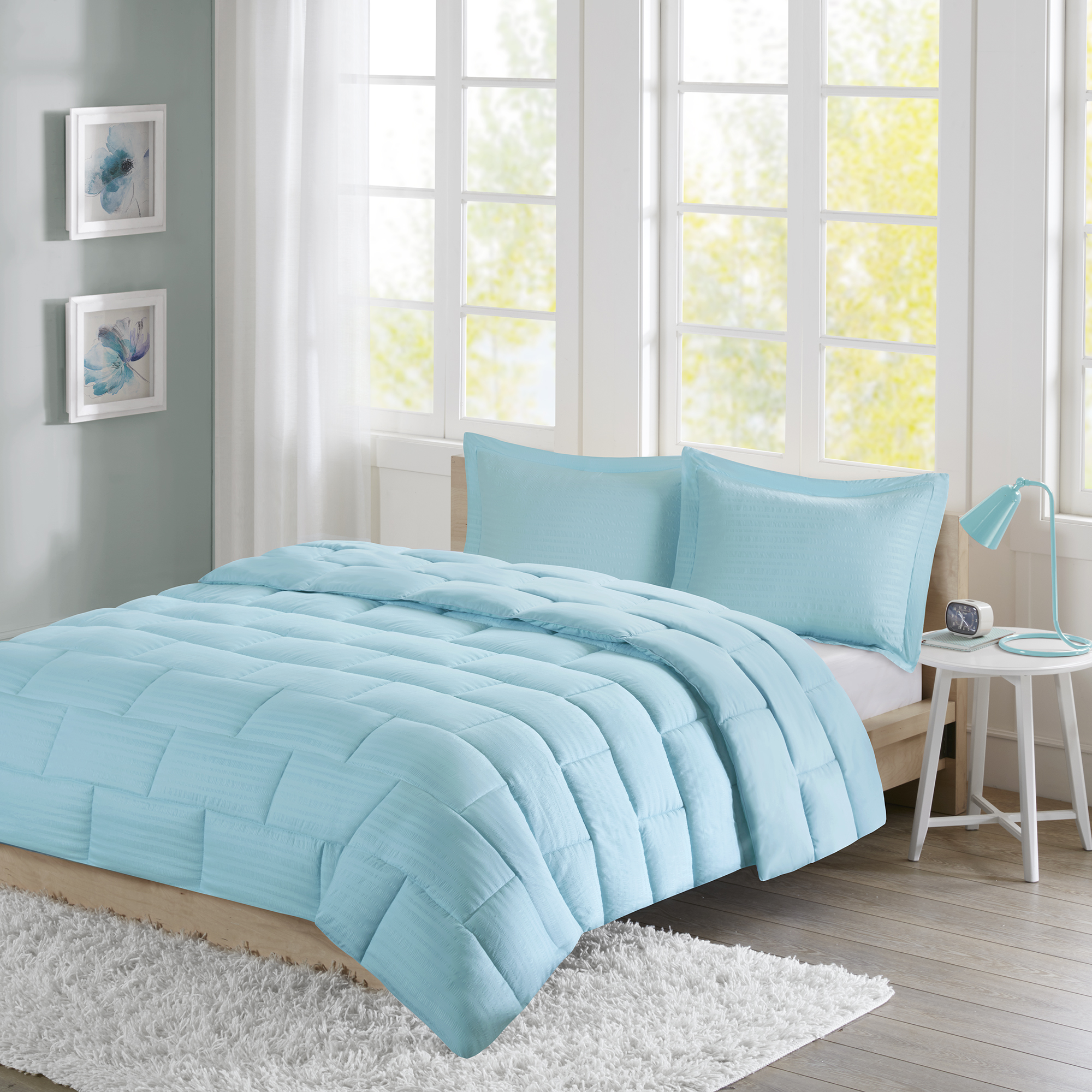 Home Essence Apartment Ava Seersucker Down Alternative Comforter Set
