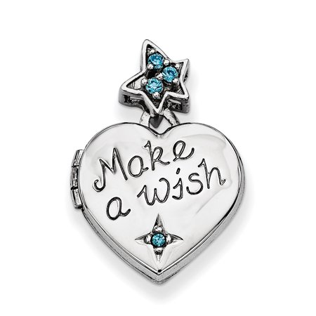 Make A Wish Necklace - 925 Sterling Silver Cubic Zirconia Cz Heart Pendant Charm Necklace Make A Wish Photo Locket That Holds Pictures For Women