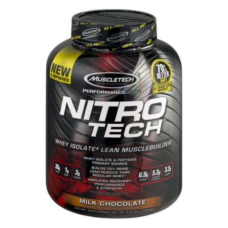 Nitro Tech Ingredients - MuscleTech Performance Series Nitro Tech Active Sports Nutrition Dietary Supplement, Milk Chocolate, 3.97lb
