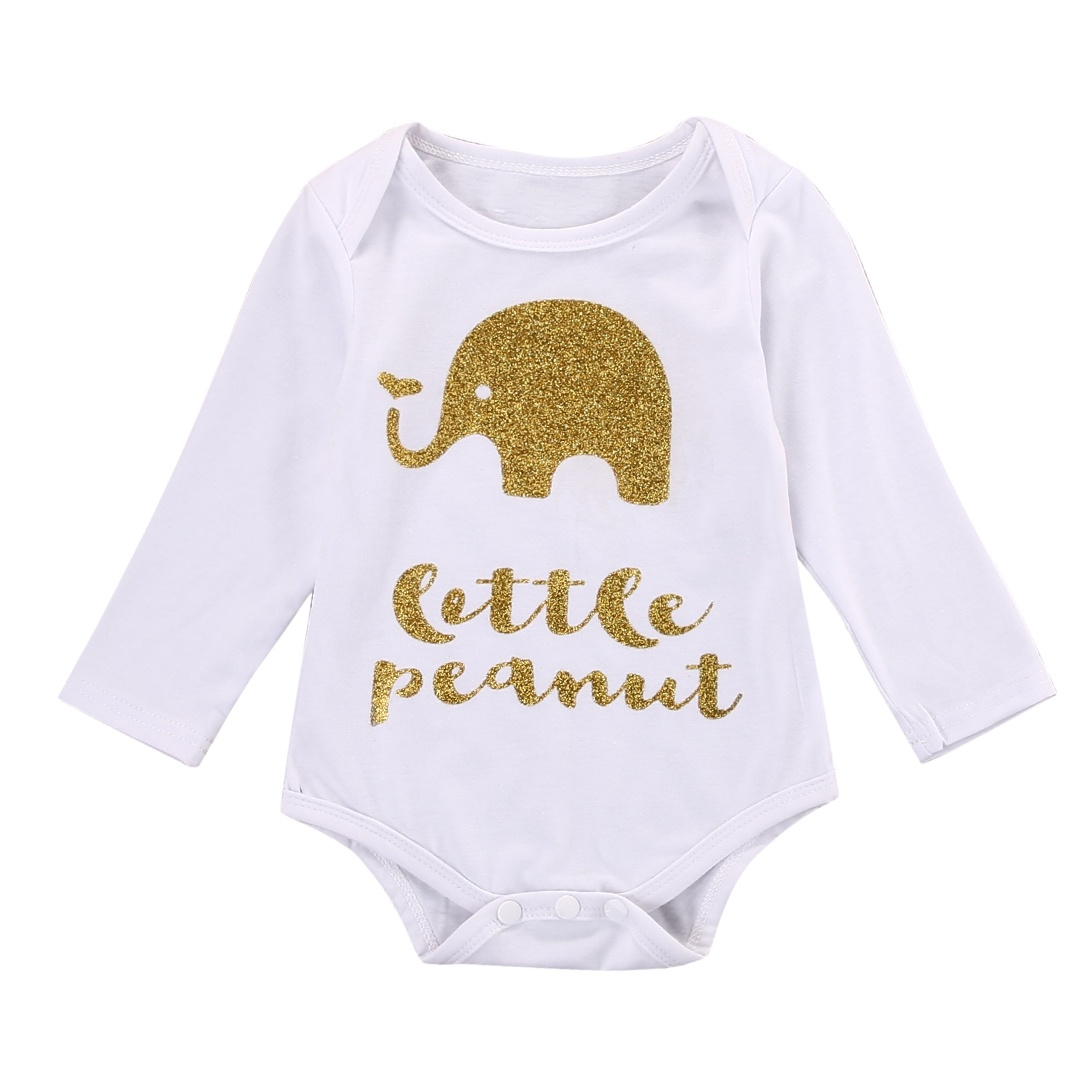 Toddler Kids Baby Girls Boy Letter Elephant Tops Bodysuit Romper Outfits Clothes