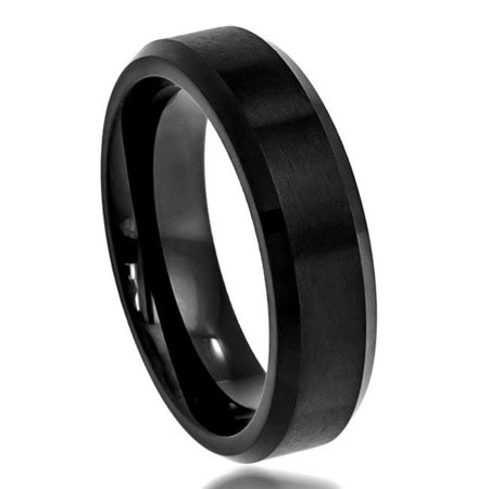 TK Rings 168TR-6mmx9.5 6 mm Brushed Center Shiny Beveled Edge Tungsten Ring - Size 9.5 - image 1 of 1