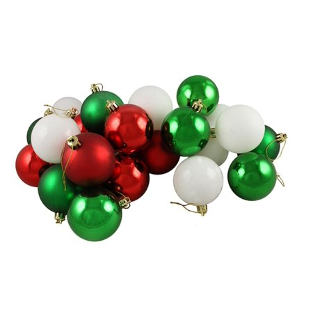 24ct Matte/Shiny Peppermint Red White & Green Shatterproof Christmas Ball Ornaments 2.5
