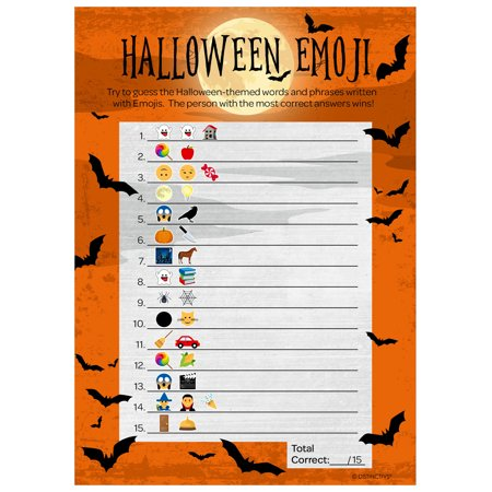 Halloween Emoji Party Game 20 player - Guessing Game - 25 Activity Cards