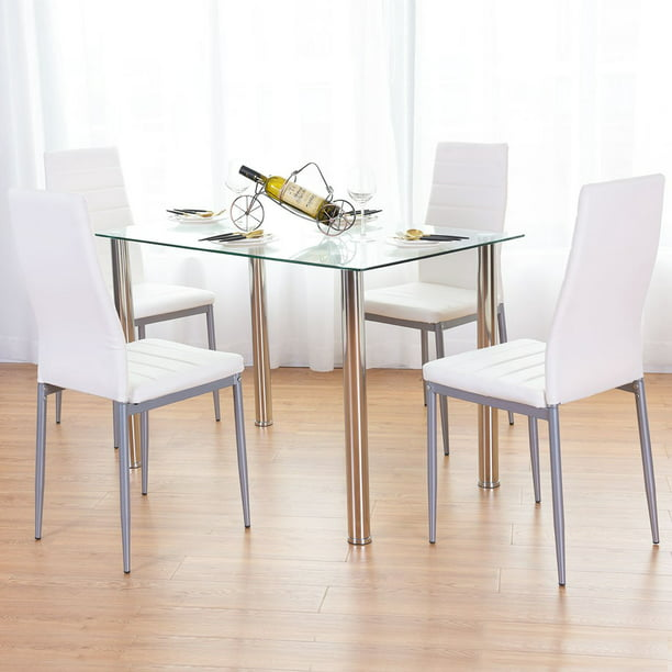 ubesgoo 5 pieces dining set modern dining table set with 4