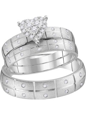 63d9c6d38 Product Image 14kt White Gold His & Hers Round Diamond Heart Matching  Bridal Wedding Ring Band Set 1
