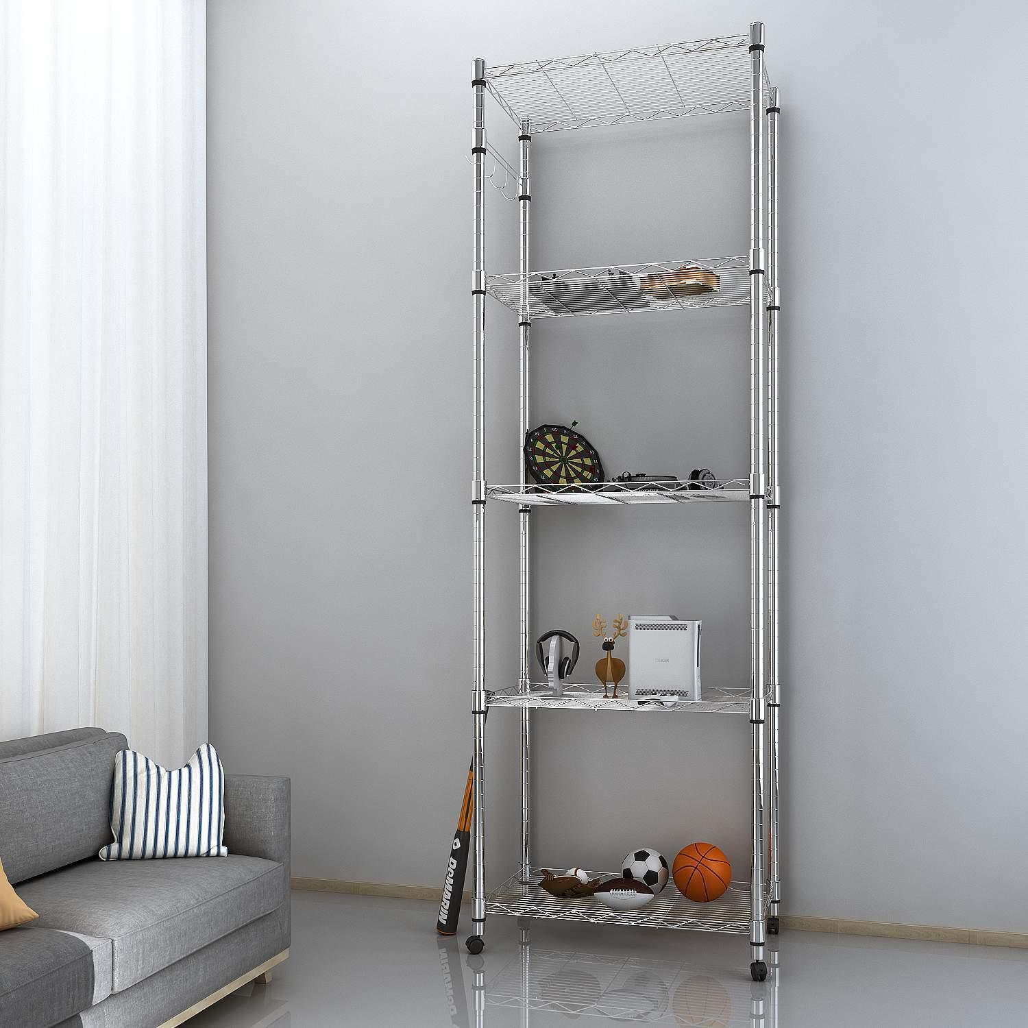 5 Tier Kitchen Balcony Living Room Steel Shelving with Wheels, 23.2 x 13.8 x 72inch (L x W x H) Silver DADEA