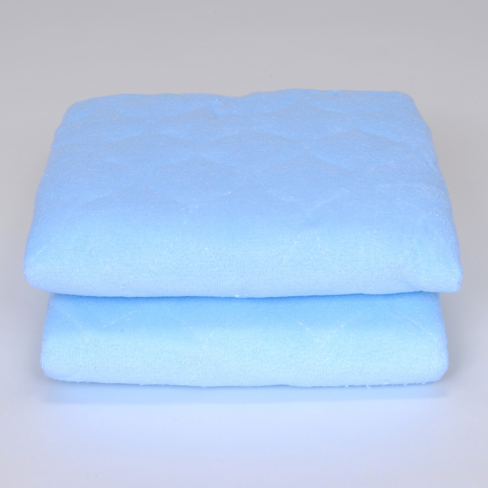 Royal Heritage Home Blue Quilted Terry Sheet Savers With Ties - Set of 2