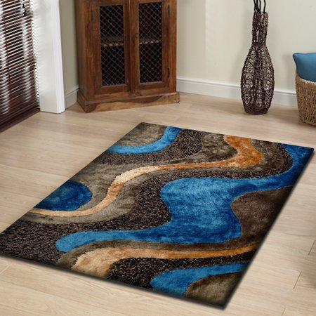 Rug Size 5'x7' Shaggy Rug In Brown and Blue with Cotton Backing. 100% Polyester with Two type of Yarns, Appx. Two Inch Pile Height Thickness (Best Type Of Rug For Kitchen)