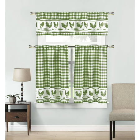 3-Piece Hellen Kitchen Curtain Set 58 in. W x 15 in. L in Sage-White