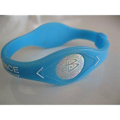 power balance silicone wristband bracelet medium sky blue w/ white letters