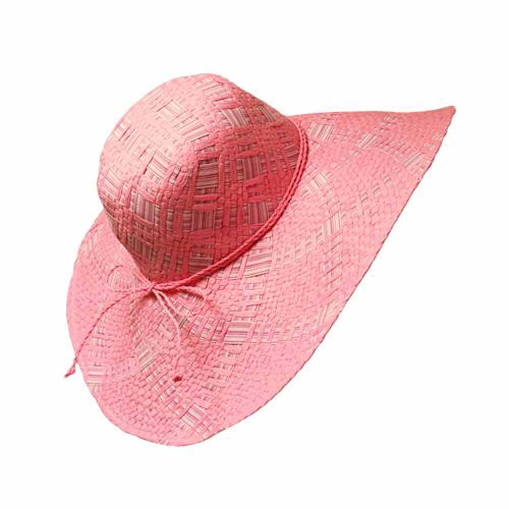 Luxury Divas Candy Pink Wide Brim Weaved Straw Floppy Hat