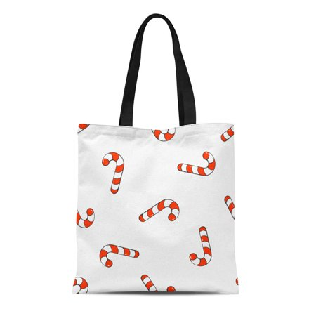SIDONKU Canvas Tote Bag Pattern Falling Candy Canes on Santa Stripes Sweet Holiday Food Reusable Shoulder Grocery Shopping Bags Handbag ()