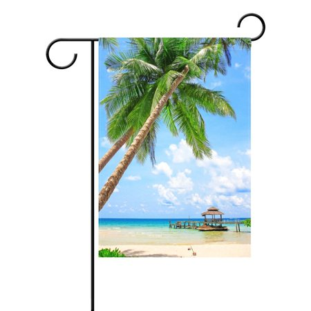 - POPCreation Tropical Palm Tree Garden Flag Summer Sea Beach Sand Outdoor Flag Home Party 28x40 inches