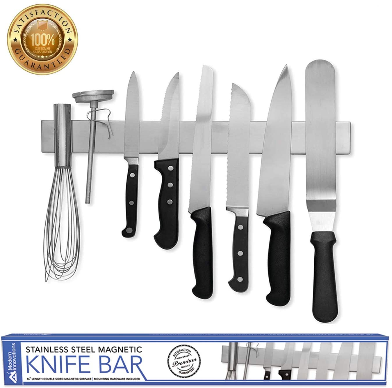 Modern Innovations 16 Inch Stainless Steel Double Sided Magnetic Knife Bar With Multipurpose Use As Wall Mount Knife Holder Knife Rack Kitchen Utensil Holder Magnetic Tool Holder Walmart Com Walmart Com