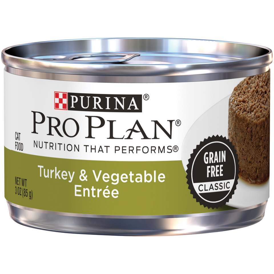 Purina Pro Plan Grain-Free Classic Turkey & Vegetable Entree Adult Wet Cat Food, 3 oz Pull-Top Can, Pack of 24