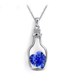 ON SALE - Bottled Up Love IOBI Crystals Necklace in Sapphire Blue Sapphire Blue Blue Sapphire Platinum Necklace