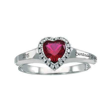 f4496c977d101 Personalized Women's Heart Fashion Class Ring available in Valadium, Silver  Plus, 10kt and 14kt Yellow and White Gold