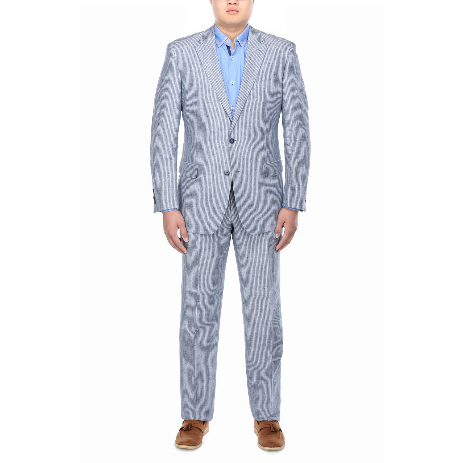 Verno Big Men's Grey Chalk Stripe Classic Fit Italian Styled Suit