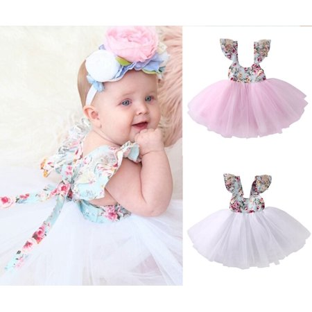Newborn Toddler Baby Girls Floral Dress Party Ball Gown Formal Dresses - Toddler Ball Gown